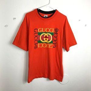 Mens Large Gucci Orange Double Collar VTG Shirt